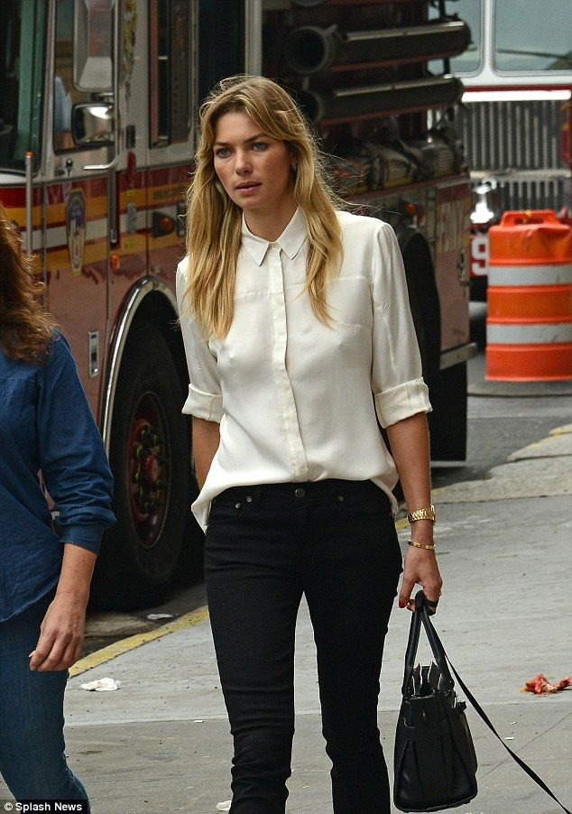 d4e1cf1d8e8cad Jessica Hart went braless while walking her dog in New York City on  Tuesday. So stylish! The 29-year-old model was done up to the nines in a  white sheer ...