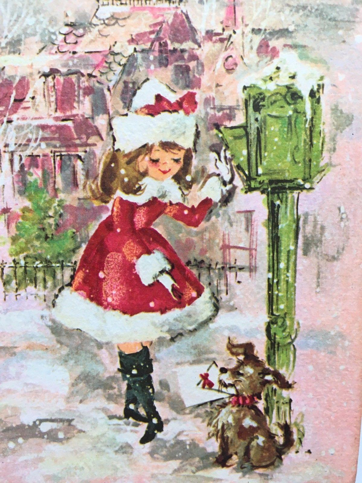Vintage Christmas Card Pink Girl Lady Fur Coat City Dog Letter Mail ...