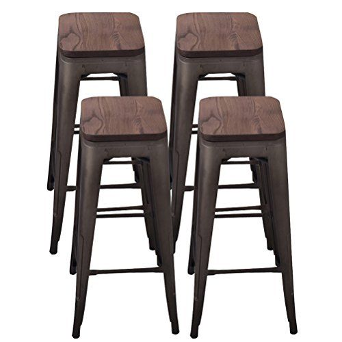 Tongli Metal Barstool Counter Industrial Patio Dining Chair For