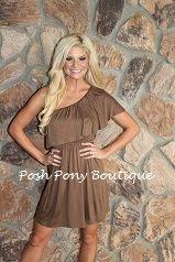 One shoulder dress in brown