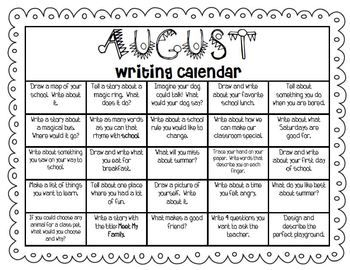 calendar writing prompts I created this calendar based on our school calendar it is a monday through friday calendar containing a writing prompt for almost everyday that we are in session.