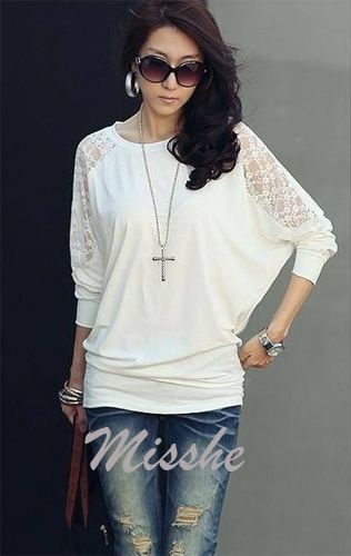 New Ladies Loose Batwing Dolman Sleeve Lace Shoulder Casual Tops T Shirt 1000 | eBay