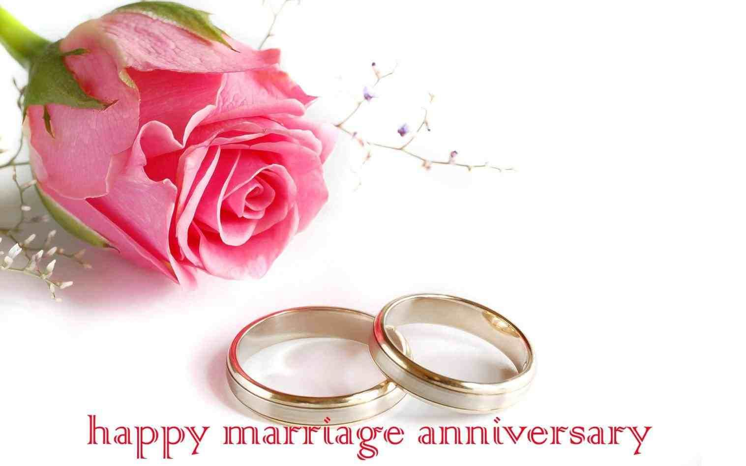 Wedding Ring Purple Background Happy Marriage Anniversary