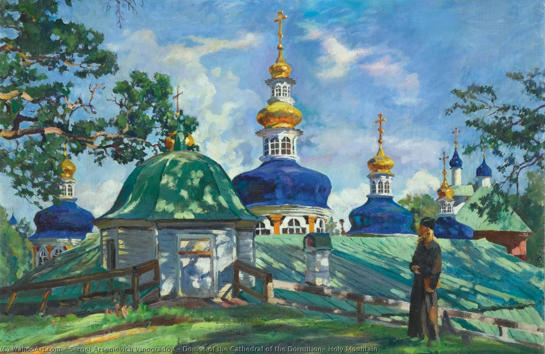 Domes of the Cathedral of the Dormition, Holy Mountain by Sergei  Arsenievich Vinogradov (1869-1938) .. | Russian painting, Impressionist  art, Impressionist artists