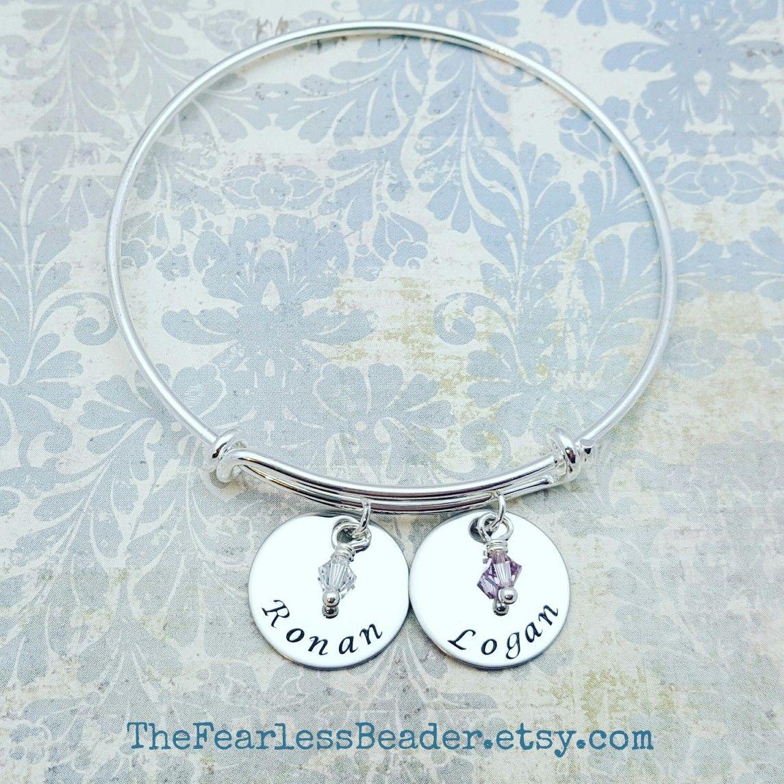 Personalized Names Bracelet Handstamped Bracelet Birthstone
