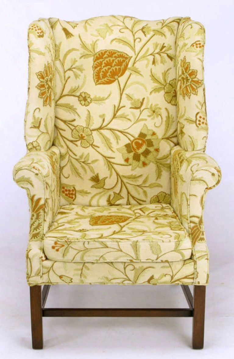 Hickory Chair Crewel Upholstered Sculptural Wing Chair