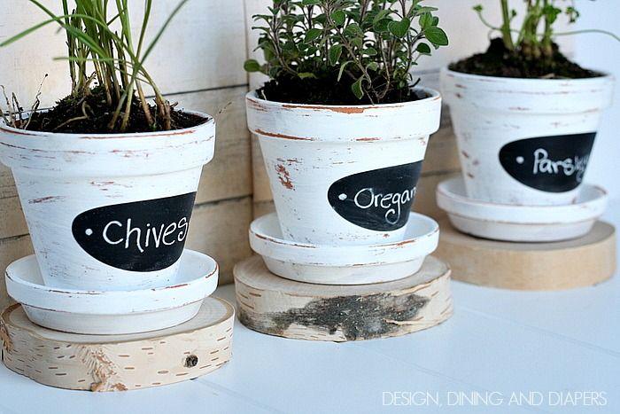 Chalkboard Herb Pots Michaels Hometalk In Person Pinterest Party Herb Pots Painted Flower Pots Flower Pots Outdoor