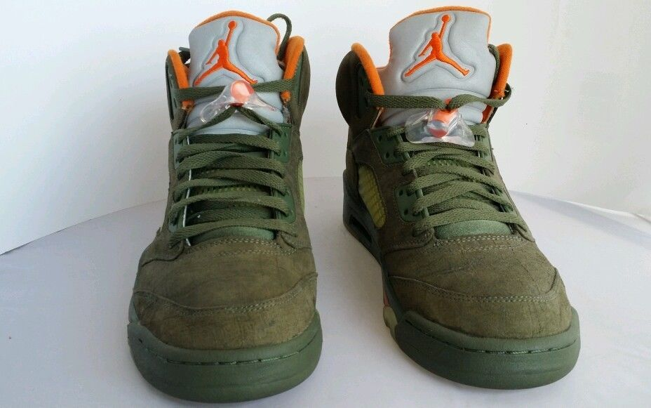 7d1eb7b976d ... aliexpress nike air jordan retro 5 ls army olive green orange size 9.5  xi mens shoes