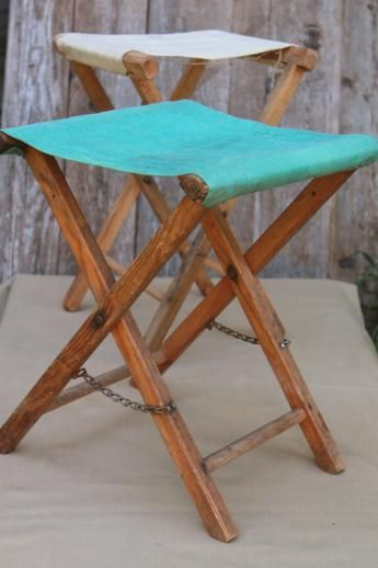 vintage camp fire camping or fishing stools, old folding wood stools ...