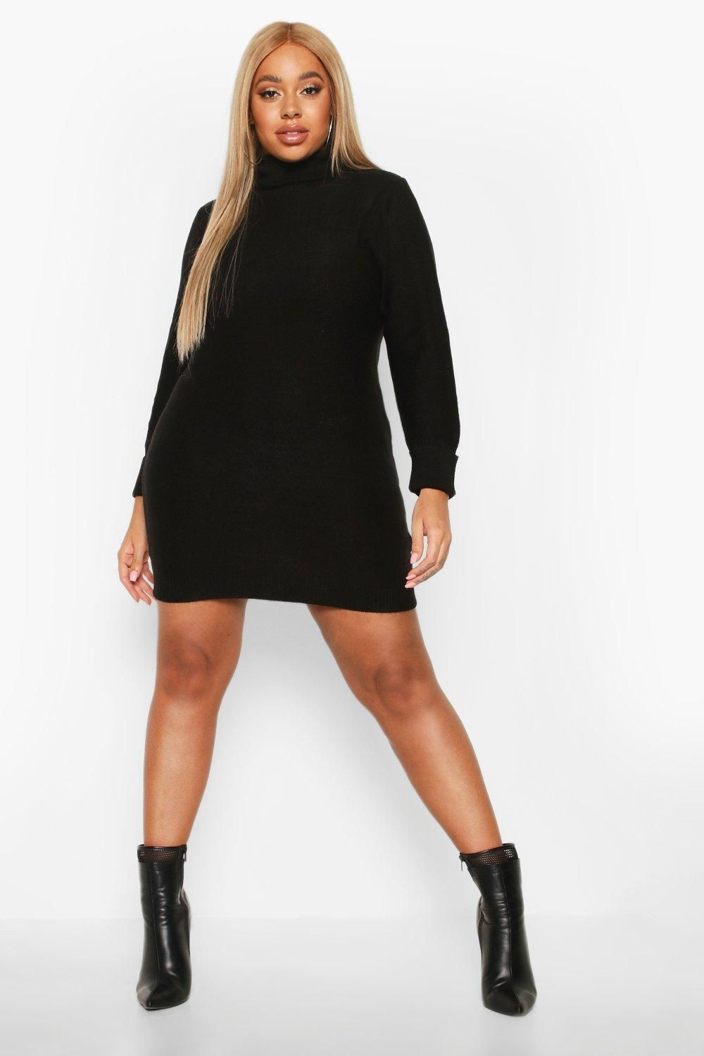 Womens Plus Rib Knit Roll Neck sweater Dress – black – 18