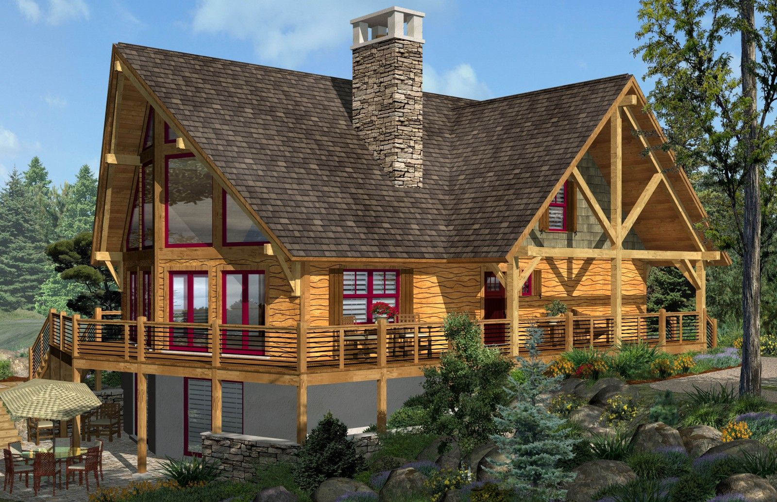 First choice extended roof covered porch second choice for Prow style house plans