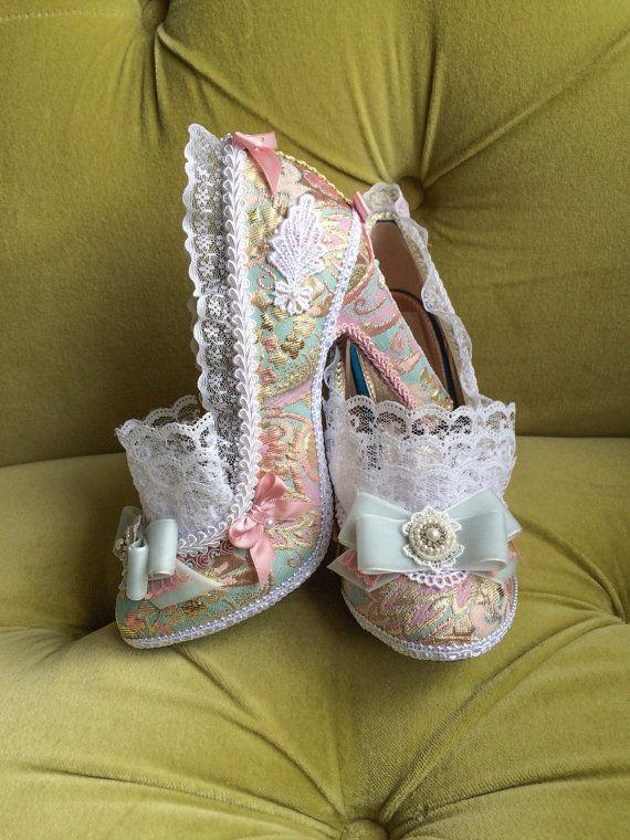 d1f1eb3d945aa Marie Antoinette Costume Heels Shoes Rococo Baroque Fantasy Pumps ...