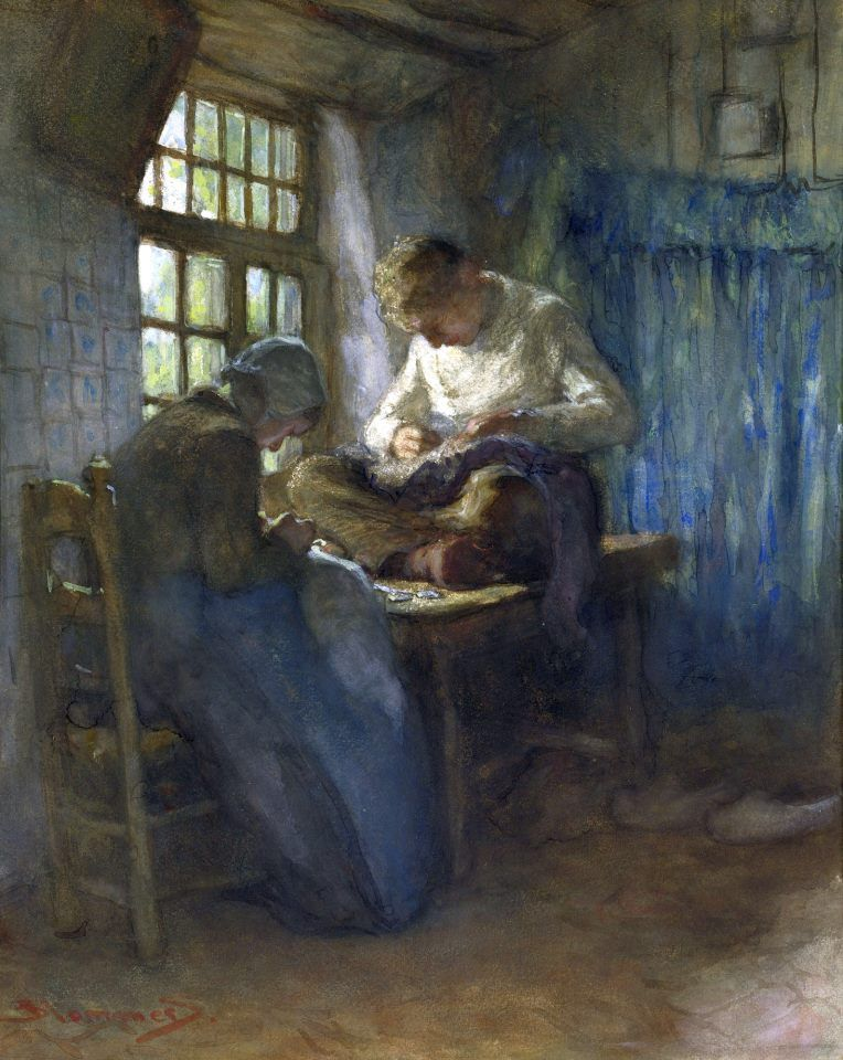 Bernardus Johannes Blommers (Dutch painter and etcher) 1845 - 1914 The Village Tailors, s.d. watercolor heightened with gouache on paper laid down on board