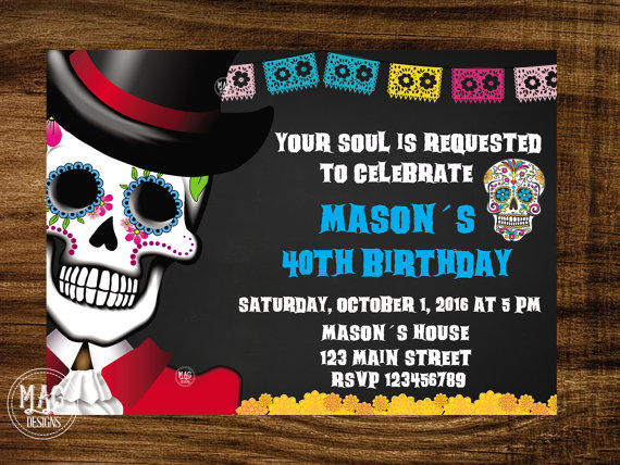 Skull Invitation Halloween Party Invitation Day Of The Dead