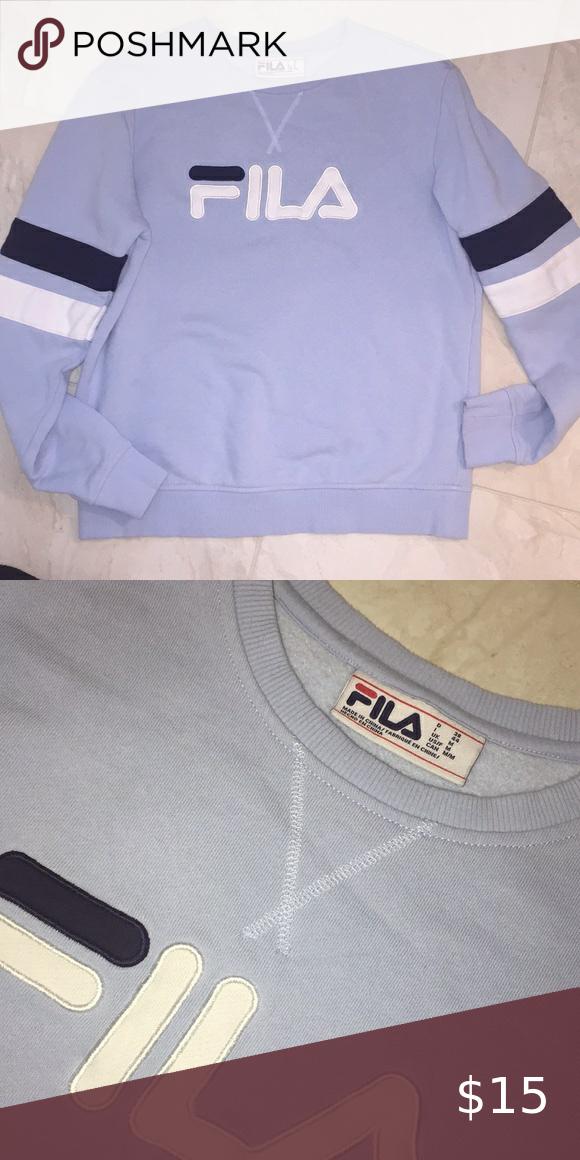 Baby Blue Blue Fila Crew Neck Sweatshirt In 2020 Crew Neck Sweatshirt Clothes Design Long Sleeve Tshirt Men