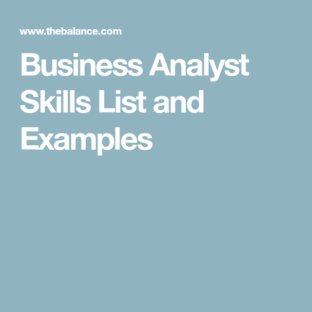 Resume For Business Analyst Business Analyst Skill Set Plus Core Competencies  Business