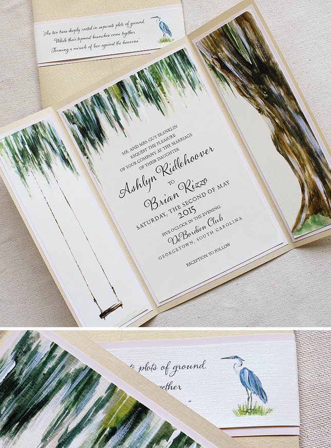Ashlyn R Watercolor Tree Wedding Invitations Oak