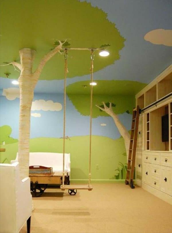schöne gestaltung für kinderzimmer - baum und schaukel | Babyroom ... | {Gestaltung kinderzimmer 32}