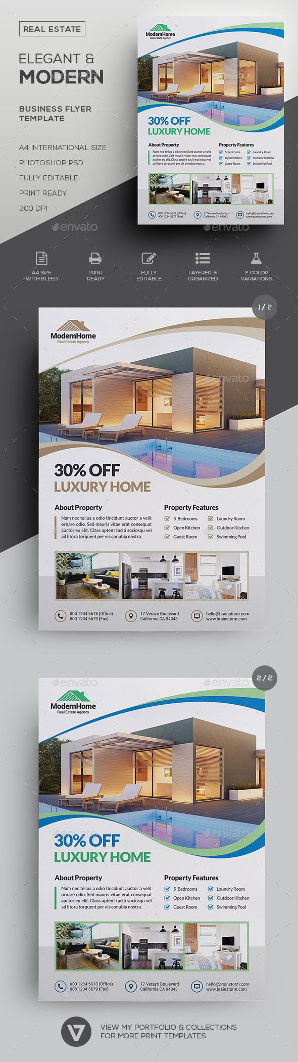 real estate flyer classy elegant modern real estate property