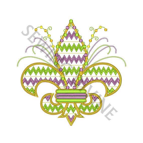 CHEVRON Fleur de lis Embroidery Design MARDI GRAS by SewingDivine