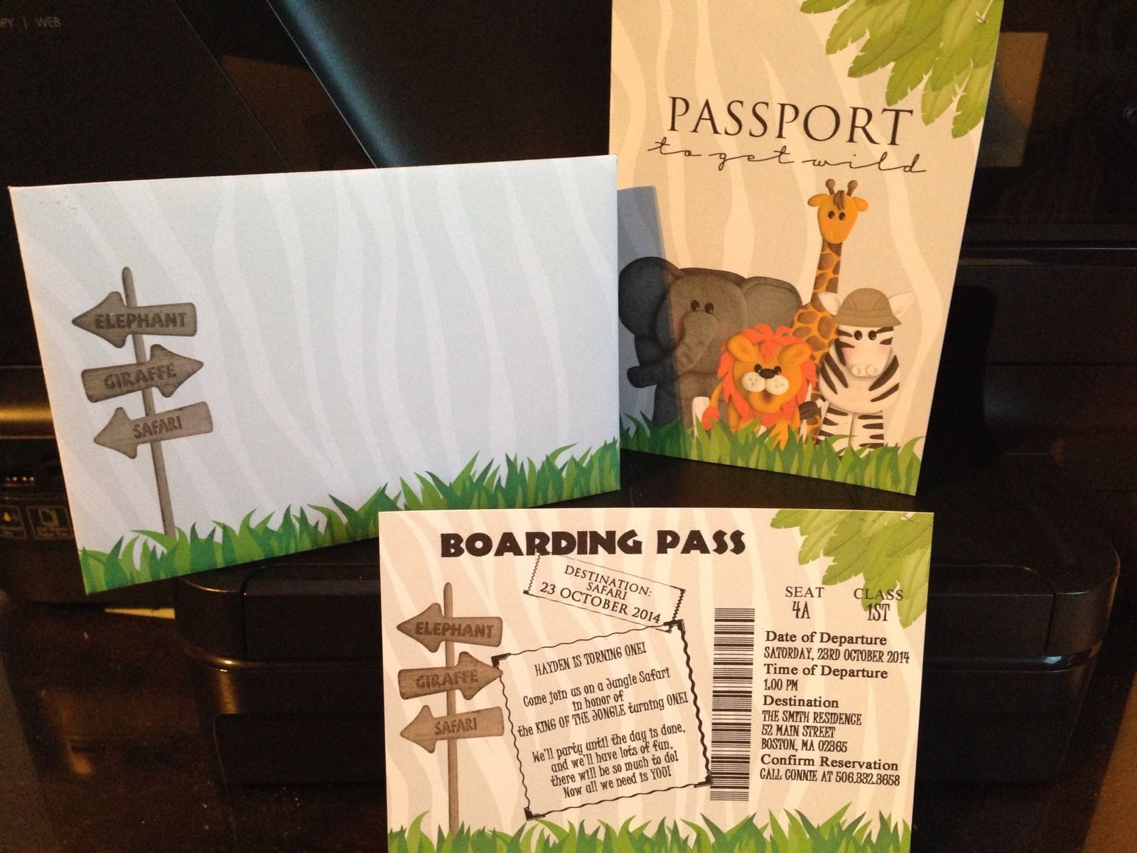 Jungle Safari Passport with Boarding Pass for Birthday or Baby