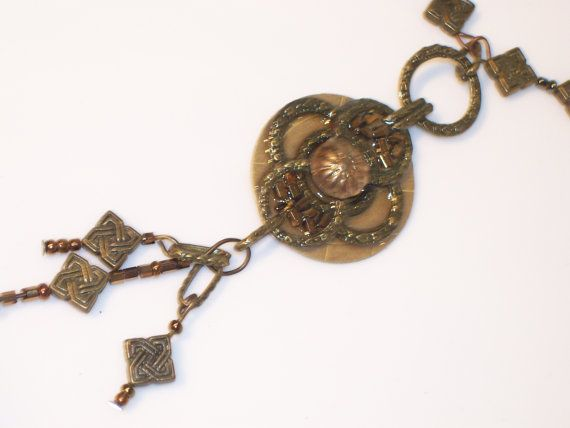 Steampunk Necklace Antiqued Bronze Necklace by NonisEclecticShop, $20.00