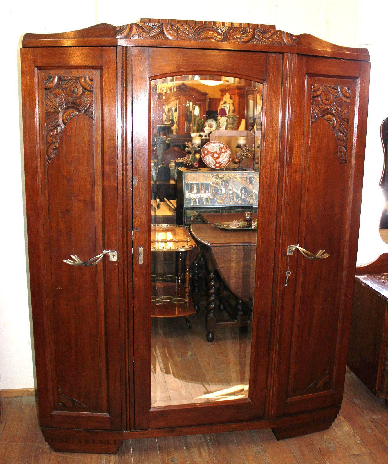 Lovely French Antique 3 Door Art Deco Wardrobe Armoire | EBay
