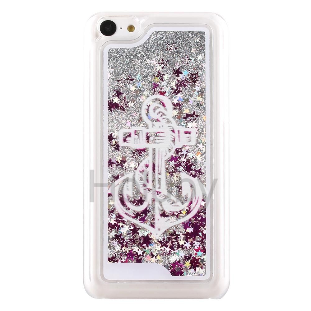 Glitter Quicksand Liquid Hard PC Back Cover Case for iPhone 5C - Anchor