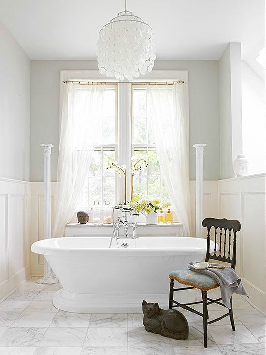 Capiz Shell Chandelier Over Bathtub