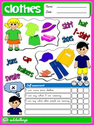 Clothes Self Assessment  School    English Lessons