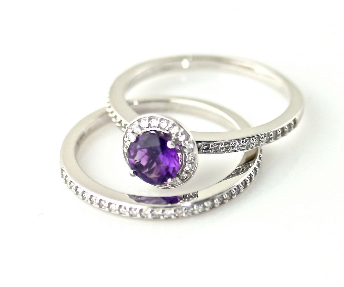 K amethyst diamond wedding set engagement ring diamond halo k
