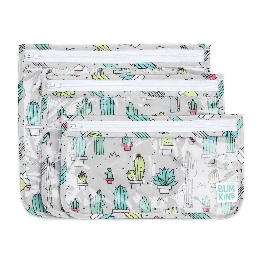 Bumkins Clear Cactus Print 3Pack Travel Pouch Set