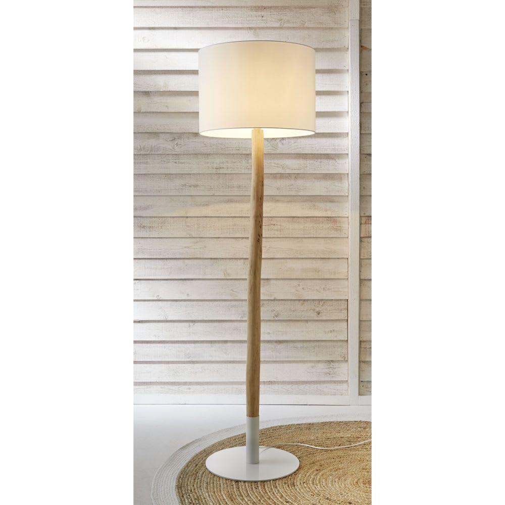Lampadaire En Bois Et Coton Blanc H 184 Cm Archipel Lampen Met Houten Voet Staande Lampen Wit Katoen