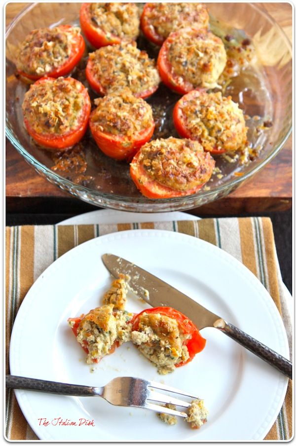 Tomatoes stuffed with ricotta, eggplant, and peppers
