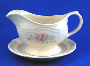 Pfaltzgraff TEA ROSE Gravy Boat and Underplate 8.5 in. Pink Blue Flowers. As always your entire order ships for only $4.99, only at http://www.totallytableware.com/