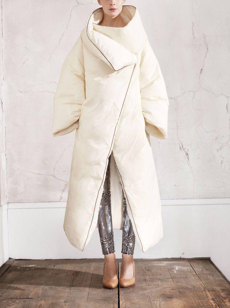 Maison Martin Margiela For H  Duvet Coat, Mirrored Leggings and Plexi Wedge