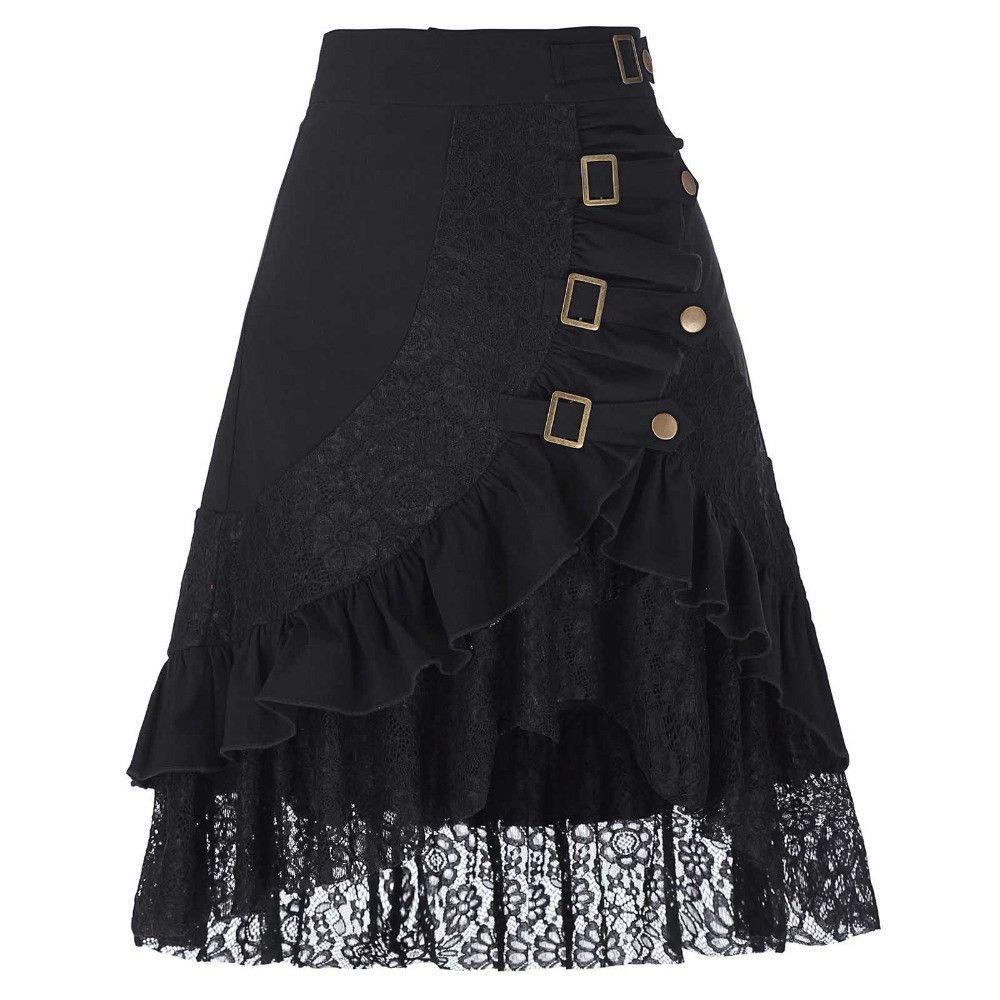 Black Skirt  Lace Buckles Rivet Snaps