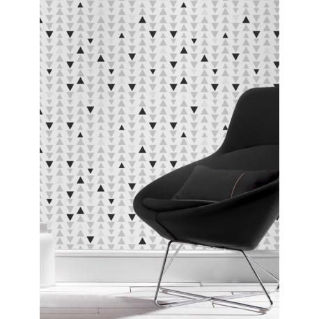 21 90 papier peint motif triangle gris noir et blanc - Papier peint geometrique triangles noir et blanc gris ...