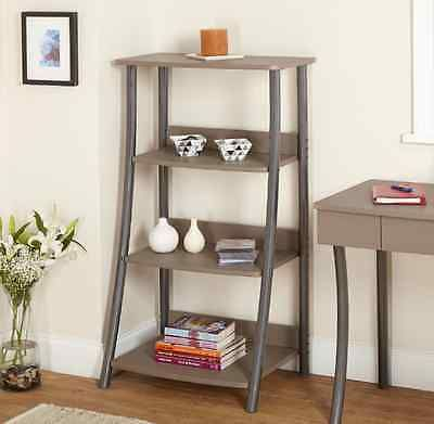4 Tier Corner Shelf Ladder Style Wooden Media Storage Cabinet Home Space Saver