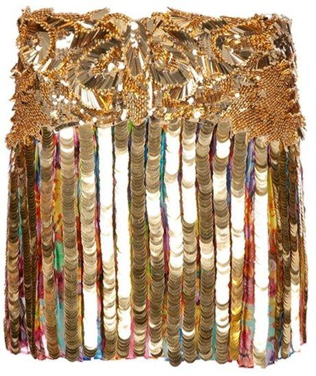 Roberto Cavalli Sequin Skirt #robertocavalli #cavalli #justcavalli #roberto #ss12 #spring2012 #summer2012 #sequins #metallic #gold #print #skirt #bead #sequin #ritaora $7059