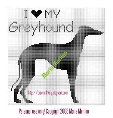 Crochet Living I Love My Greyhound Crochet Chart Or Graph Dog