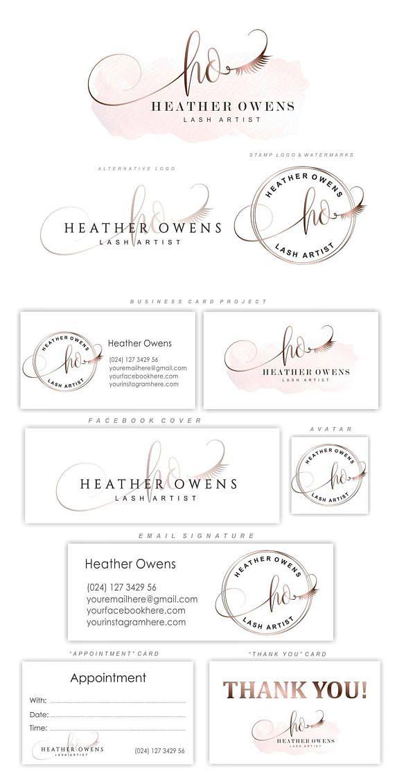 Lash artiste logo design, kit de marque de cils, paquet de logo premade, logo extensions or Lash, carte de visite, paquet de marketing personnalisé, 69