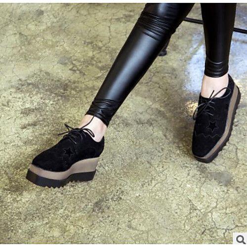 8ed44859fd Mujer Zapatos PU Invierno Confort Oxfords Tacón Plano Punta cerrada para  Casual Negro Verde Ejército 2018 -  26.99