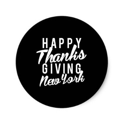Nice happy thanks giving new york print classic round sticker
