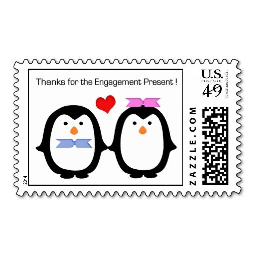 Penguin Couple Male Female Thanks Engagement Postage Discover - penguin template