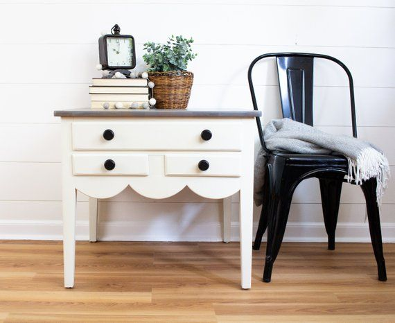 refinished farmhouse end table scalloped pine end table nightstand rh pinterest com