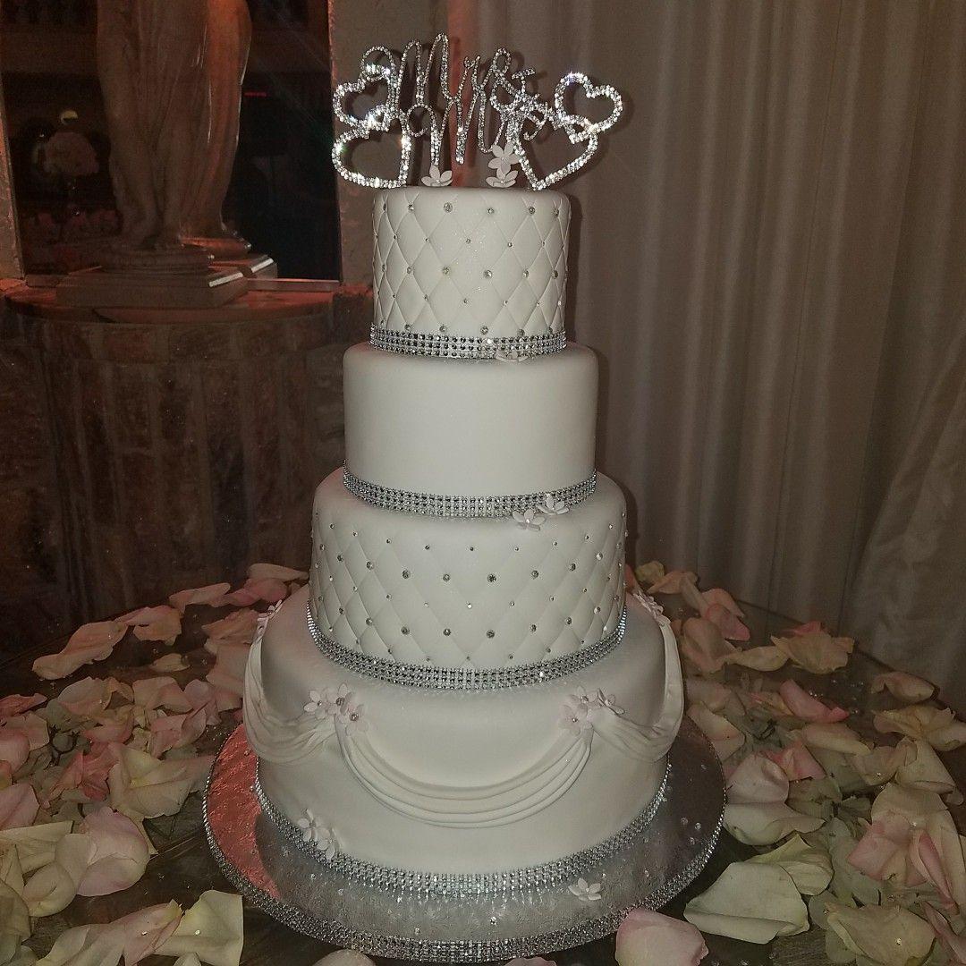 All White Wedding Cake W/ Bling By Www.thegoodiebagny.com
