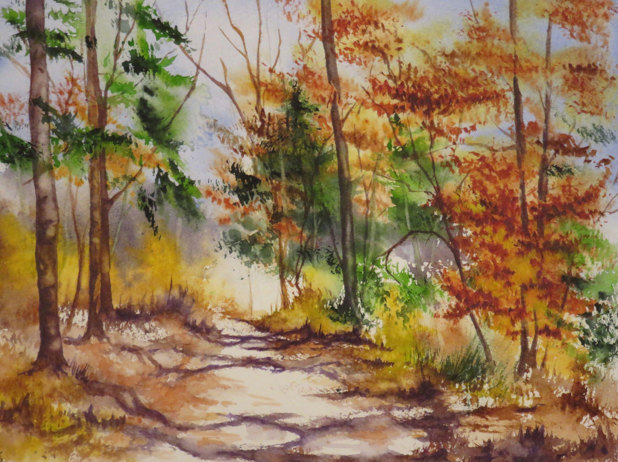 23x31cm fin d 39 automne aquarelle abby aquarelles 2016 pinterest aquarelle paysage - Paysage d automne dessin ...