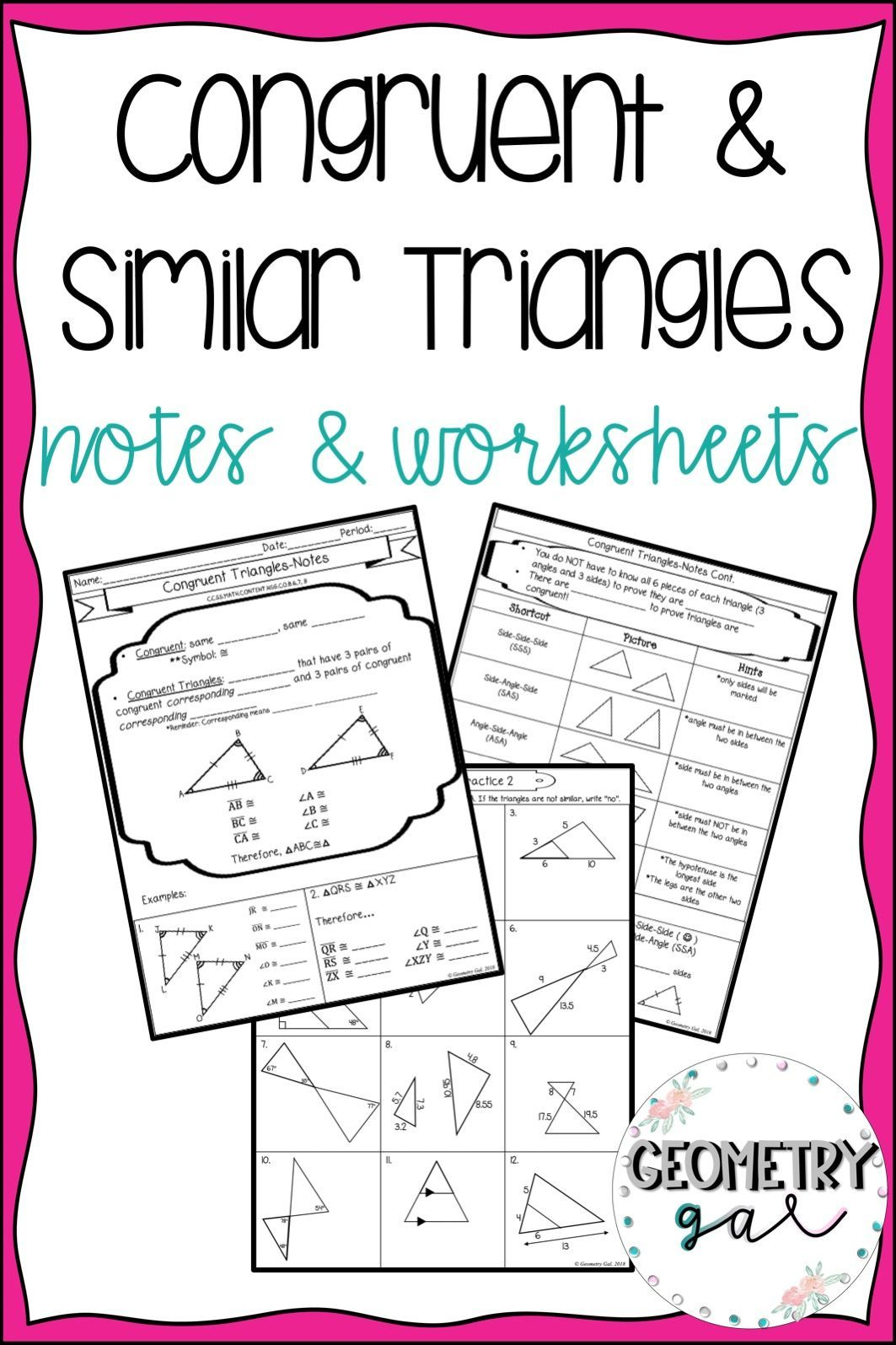 Congruent And Similar Triangles Guided Notes And