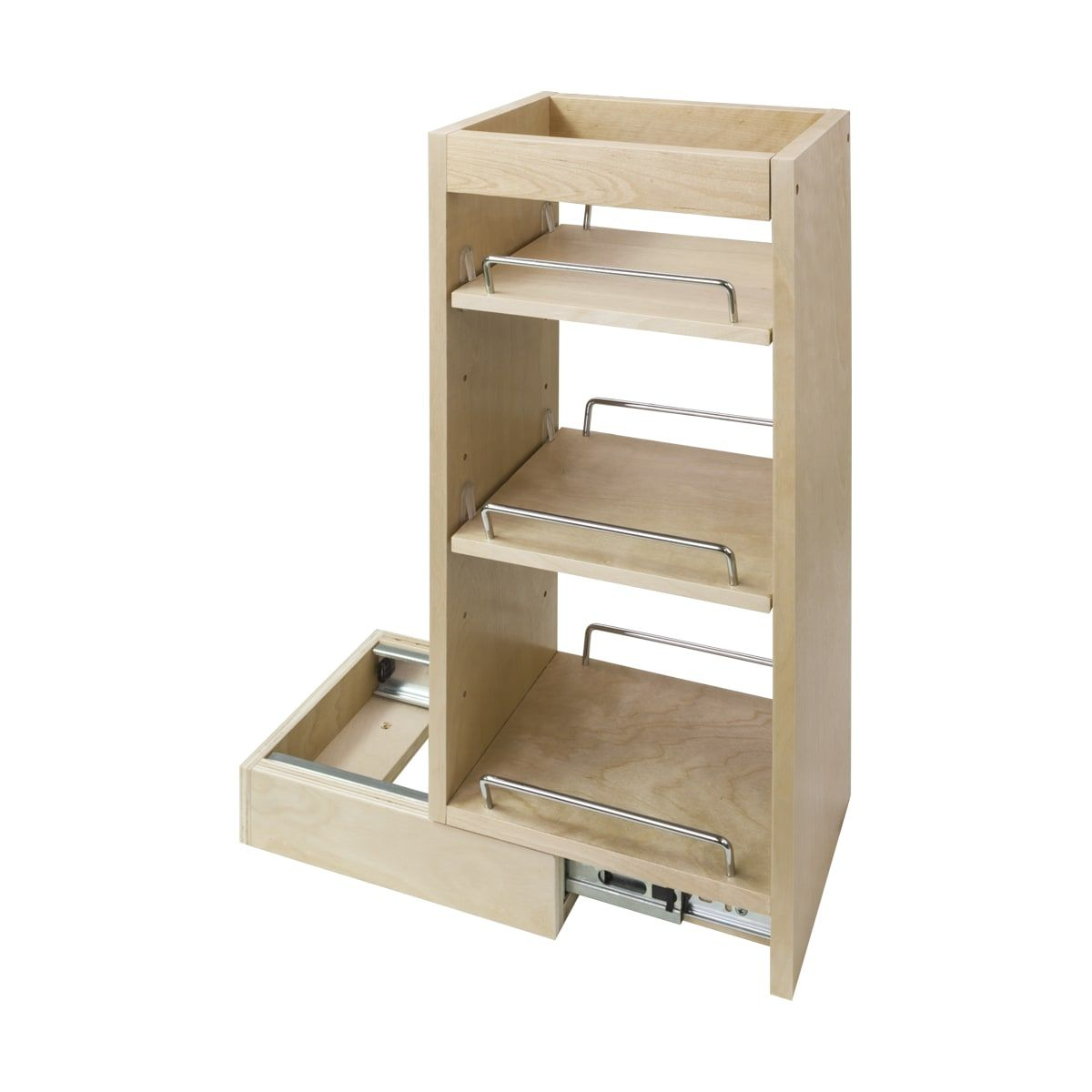 Hardware Resources Wpo2 8sc Natural 24 Inch Tall 8 Inch Wide Wall Filler Pull Out Organizer With Adjustable Shelves And Full Extension Ball Bearing Slides In 2020 Diy Bathroom Storage Wall Cabinet
